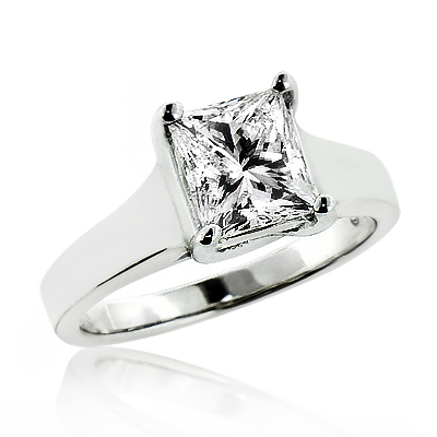 1 Stone Solitaire Princess Cut Diamond Engagement Ring 1.5ct 14K Gold