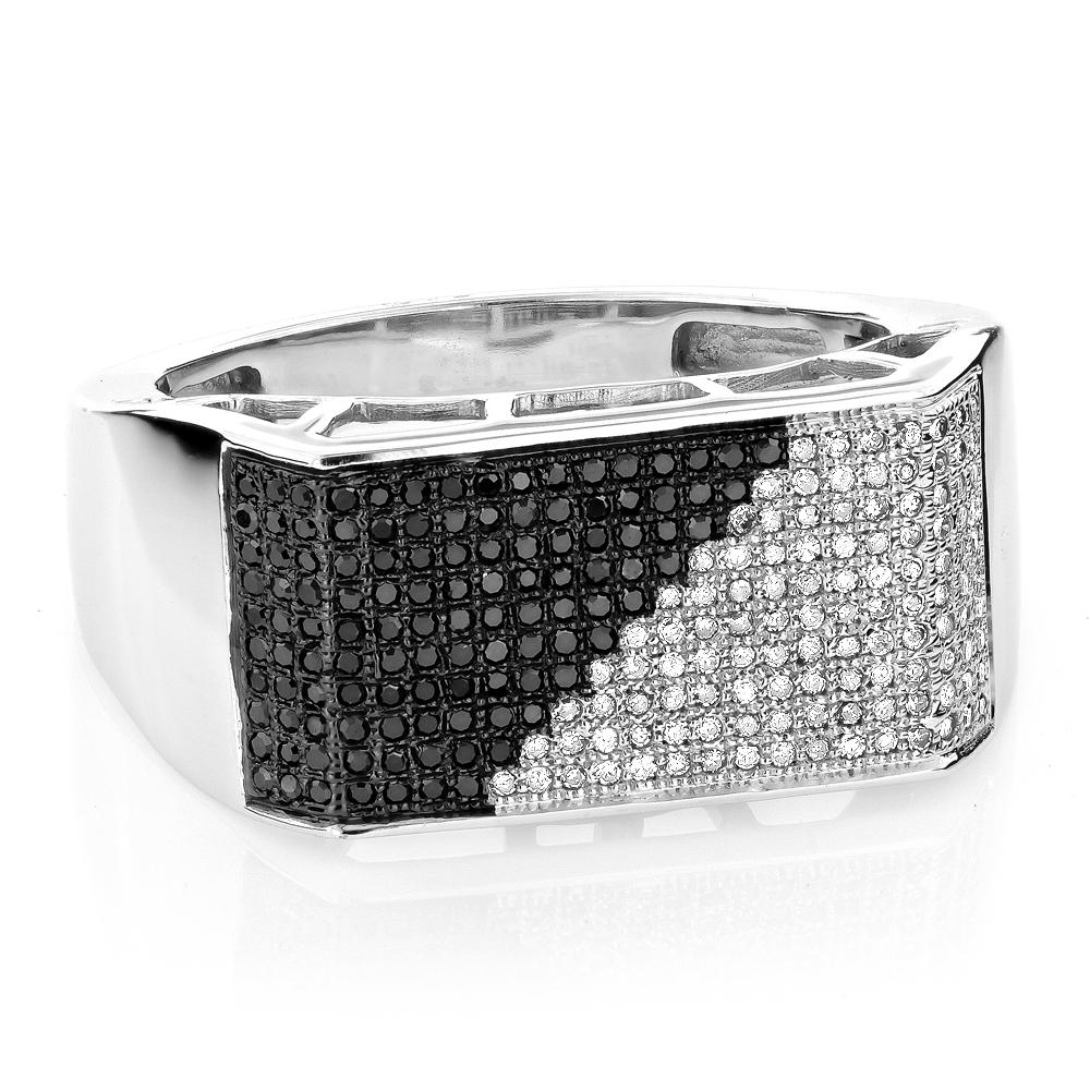 10K Gold Black and White Mens Diamond Ring 0.65ct