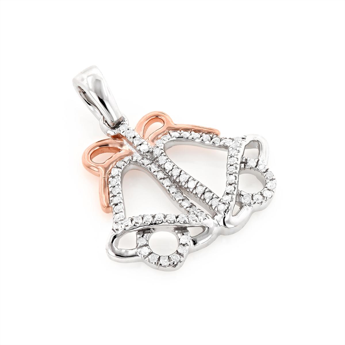 10K Gold Charms Diamond Christmas Bells Pendant 0.14ct