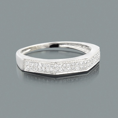 Thin 10K Gold Ladies Diamond Wedding Band 0.20ct