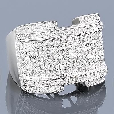 10K Pave Mens Diamond Ring 1.61ct