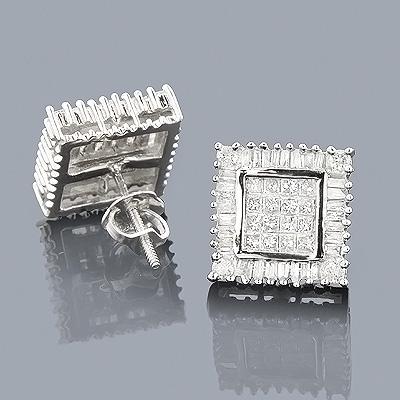 14K Baguette Princess & Round Diamond Earrings 1.01ct