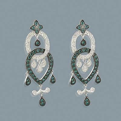 14K Blue Diamond Chandelier Earrings 0.96ct