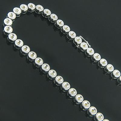 14K Canary Yellow Diamond Chain Necklace Bezel Set 5.15