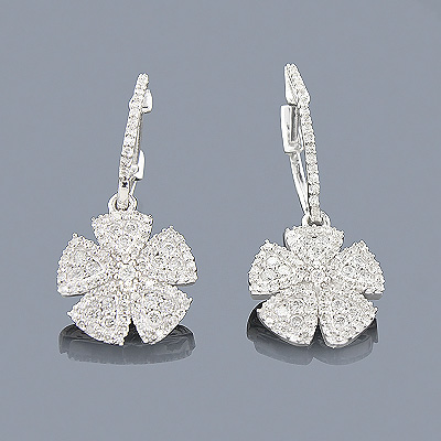 14K White Gold Diamond Flower Earrings for Women 0.87ct