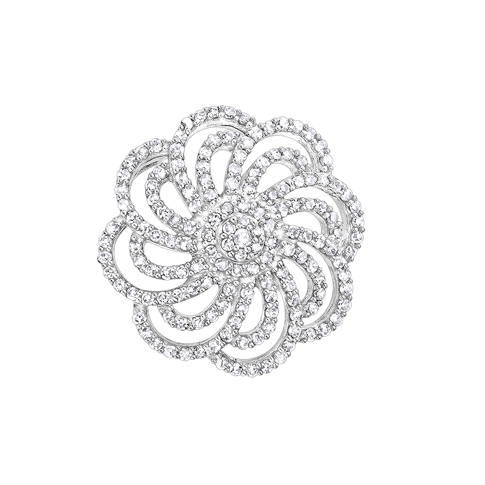 14K Diamond Swirl Flower Pendant 0.50ct