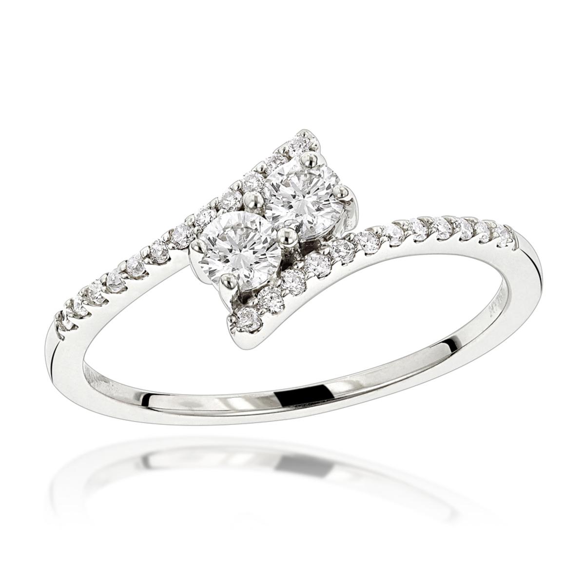 14K Gold 2 Stone Diamond Ladies Ring 0.4ct Love and Friendship Design