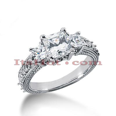 14K Gold Antique Diamond Engagement Ring 1.59ct