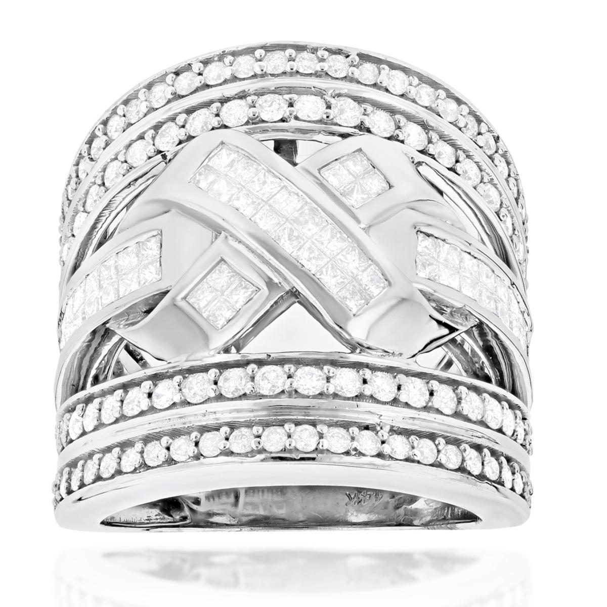 14K Gold Criss Cross Diamond Ring 2.20ct