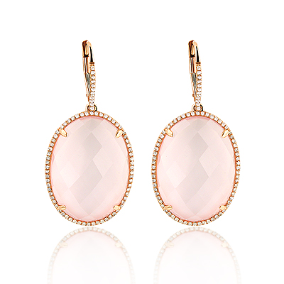 14K Gold Diamond Dangling Earrings Rose Quartz