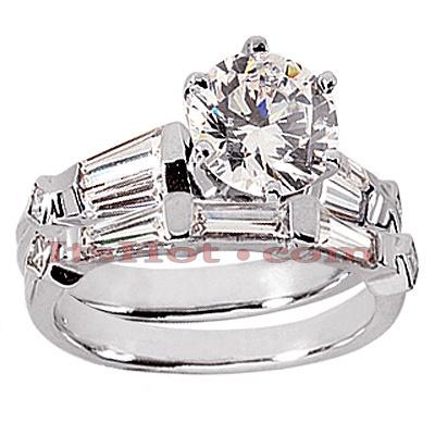 14K Gold Diamond Designer Engagement Ring Set 2.12ct