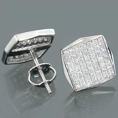 14K Gold Diamond Earrings w Pave Set Diamonds 0.60ct