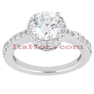 Halo 14K Gold Diamond Engagement Ring Mounting 0.36ct