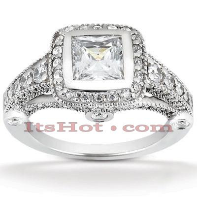Halo 14K Gold Diamond Engagement Ring Mounting 0.88ct