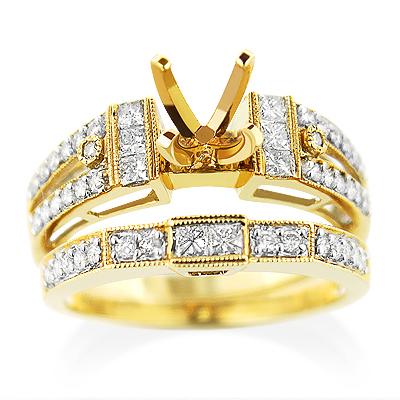 14K Gold Diamond Engagement Ring Mounting Set 0.83ct