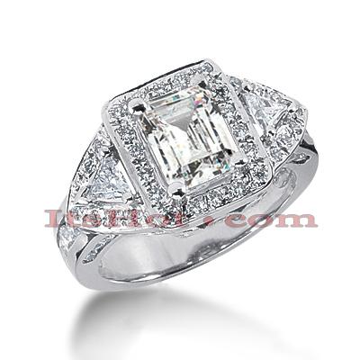 Halo 14K Gold Diamond Engagement Ring Setting 1.54ct