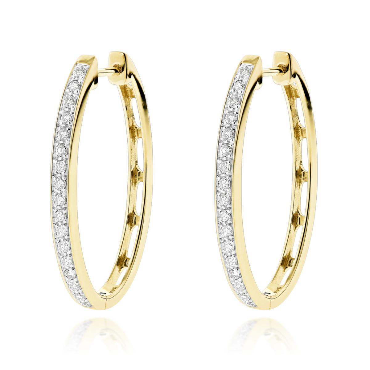 14K Gold Oval Diamond Hoop Earrings for Women 0.71ct