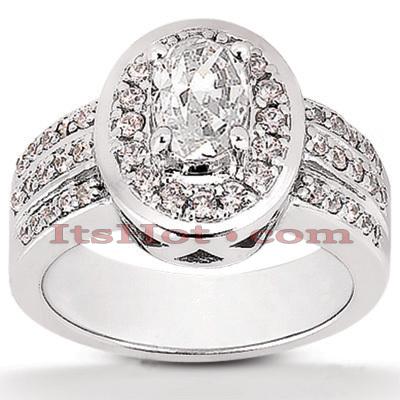 14K Gold Diamond Unique Engagement Ring 1.04ct