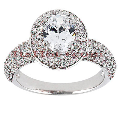14K Gold Diamond Unique Engagement Ring 1.21ct