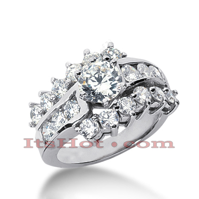 14K Gold Diamond Unique Engagement Ring 2.18ct