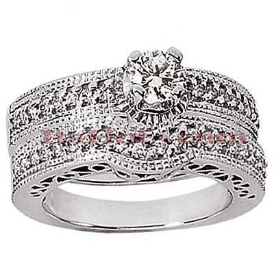 14K Gold Diamond Unique Engagement Ring Set 0.36ct