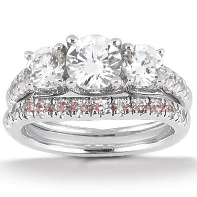 14K Gold Diamond Unique Engagement Ring Set 1.48ct