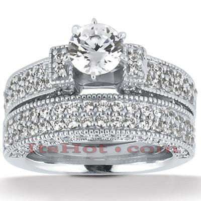 14K Gold Diamond Unique Engagement Ring Set 2.07ct