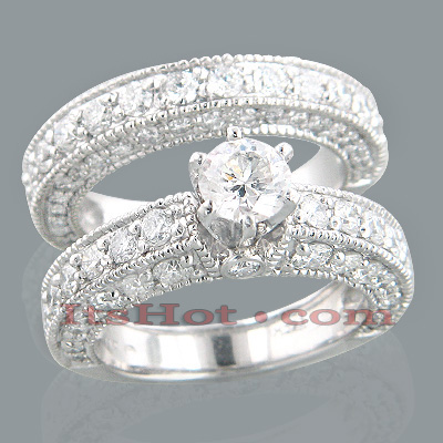 14K Gold Diamond Unique Engagement Ring Set 3.24ct