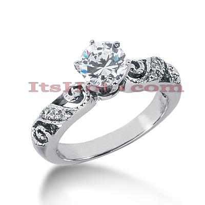 14K Gold Diamond Vintage Engagement Ring 0.57ct