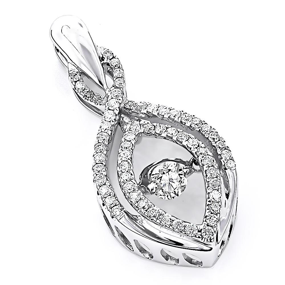14K Gold Ladies Dancing Diamond Pendant 1/2ct Teardrop Shape