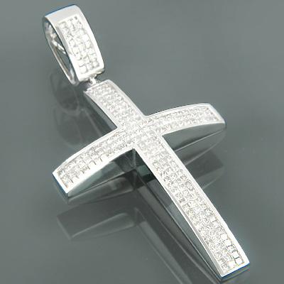 14K Gold Mens Princess Diamond Cross Pendant 8.22ct