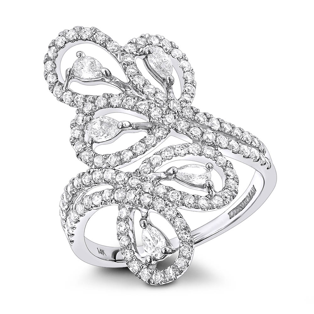 14K Gold Pear Round Diamond Floral Cocktail Ring for Women by Luxurman