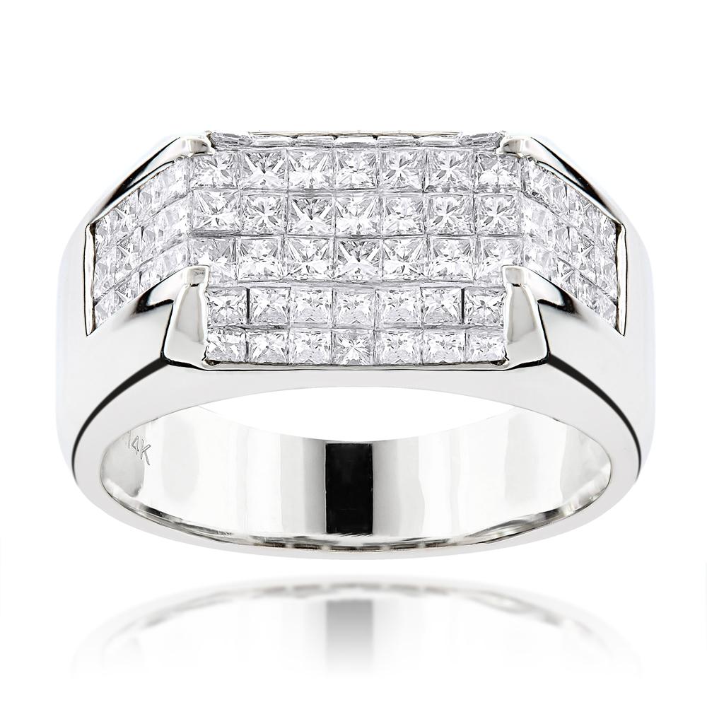 14K Gold Princess Cut Diamond Mens Ring Band 3.5ct