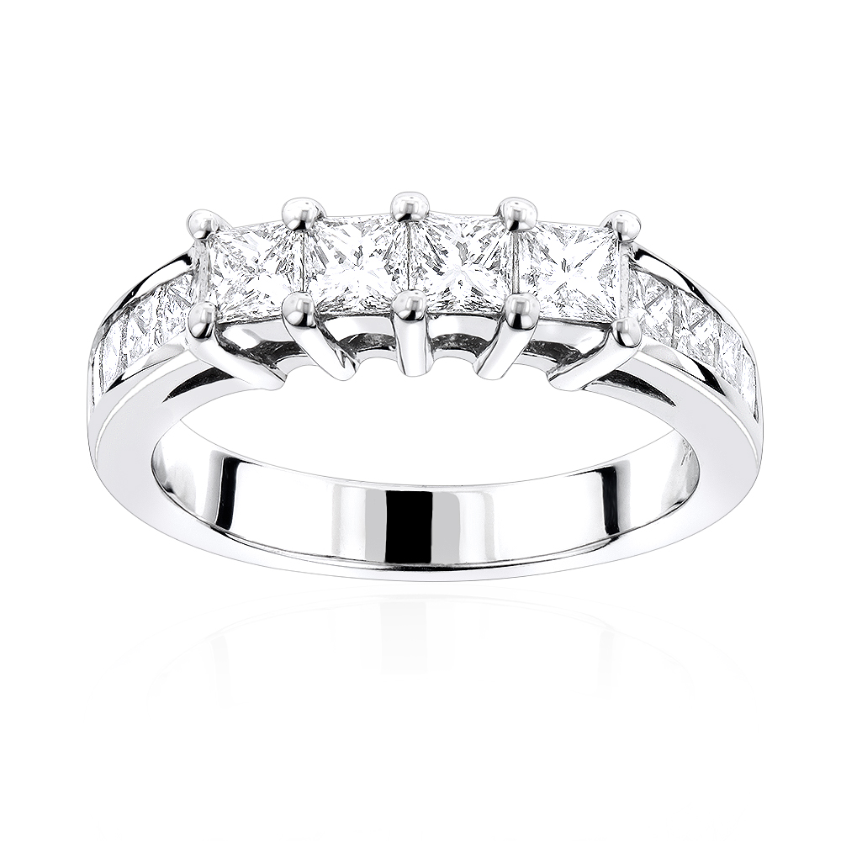 14K Gold Princess Cut Diamond Wedding Band for Women 1.85ct