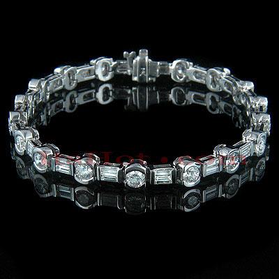 14K Gold Round Baguette Diamond Tennis Bracelet 6.65ct