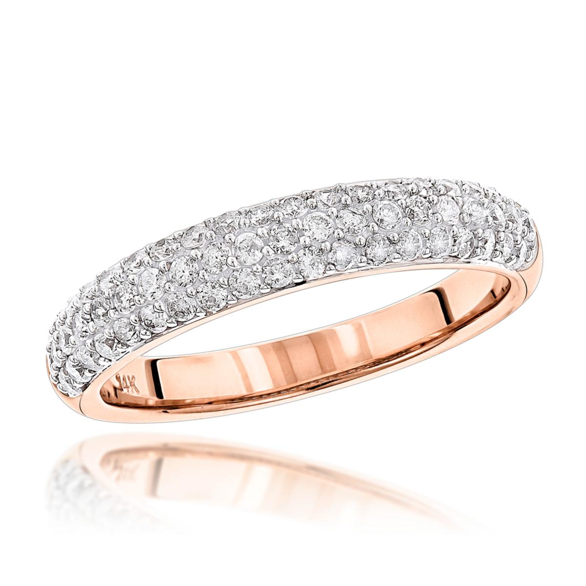 Thin 14K Gold Round Cut Pave Diamond Band 0.75 carat
