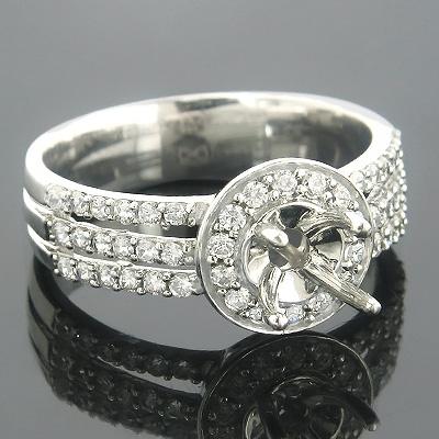 Halo 14K Gold Round Diamond Engagement Ring Setting 0.54ct