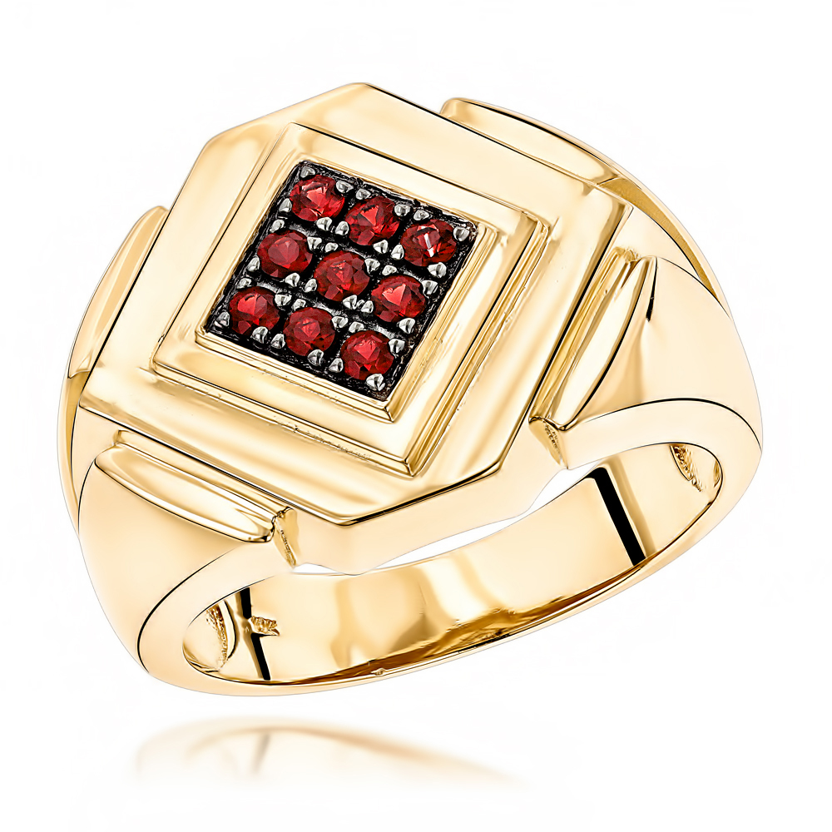 14K Gold Ruby Mens Ring by Luxurman