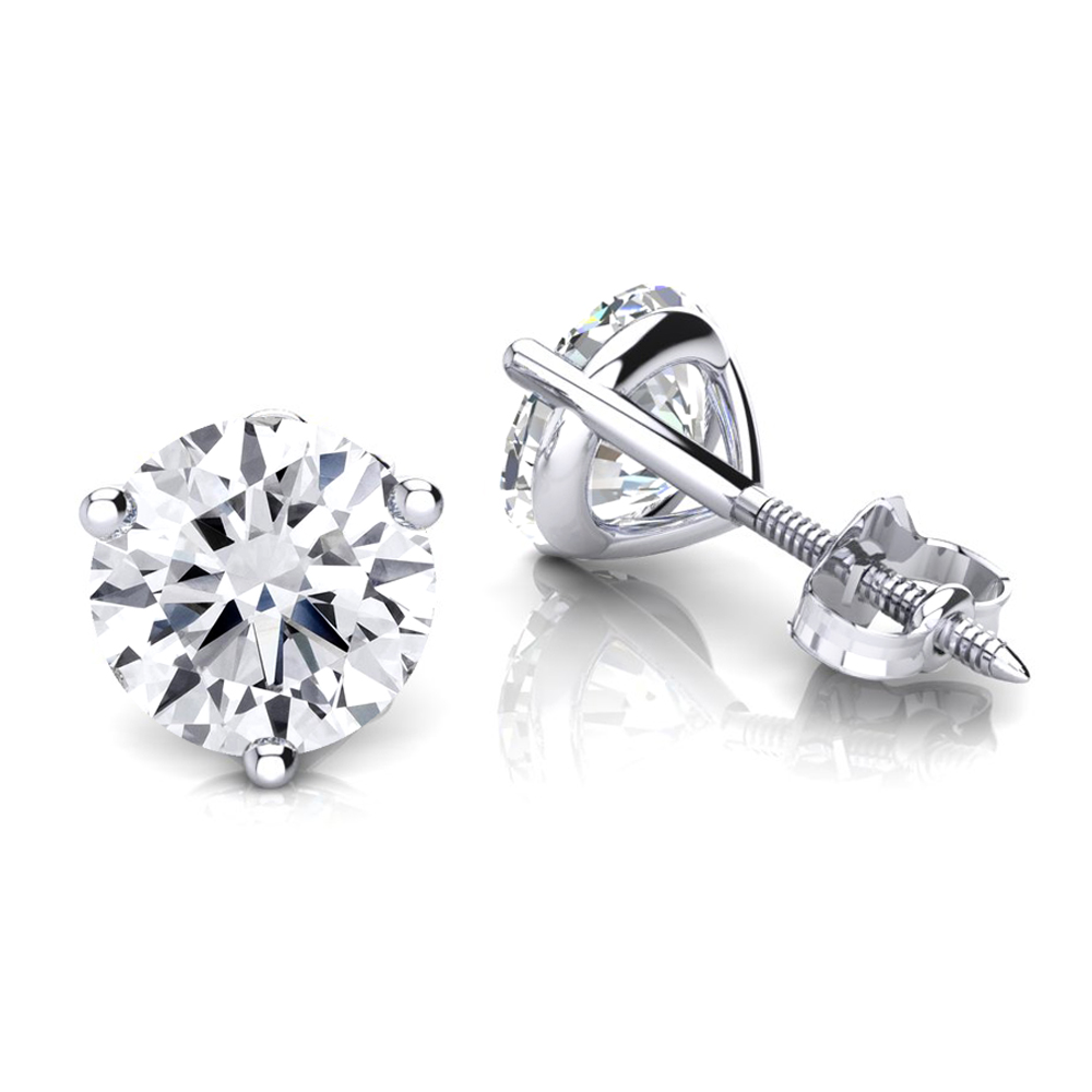 14K Gold Solitaire Round Diamond Martini Stud Earrings 1.5ct