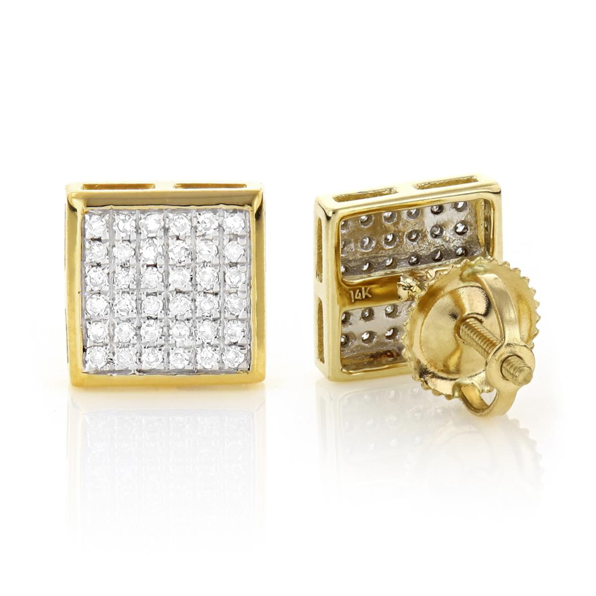14K Gold Square Shaped Diamond Stud Earrings 0.41ct