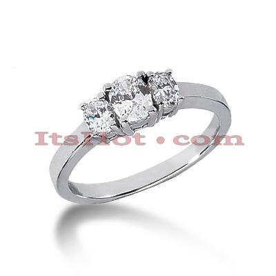 14K Gold Three Stone Diamond Engagement Ring 0.55ct