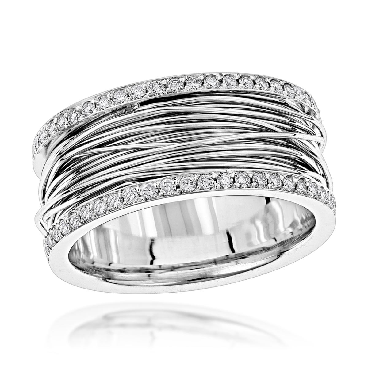 14K Gold Unique Diamond Wedding Ring White Rose Yellow Gold 1 Carat Band