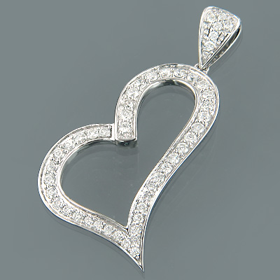 14K Gold Womens Round Diamond Heart Pendant 1.07ct
