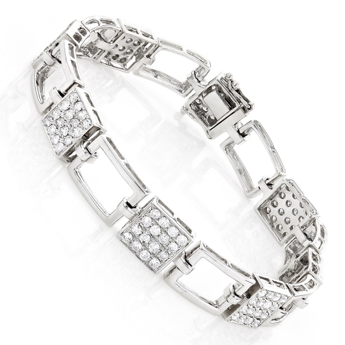 14K Gold Ladies Diamond Bracelet 2.98ct