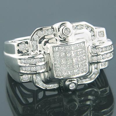 14K Mens Designer Diamond Ring Princess Round 2.16ct