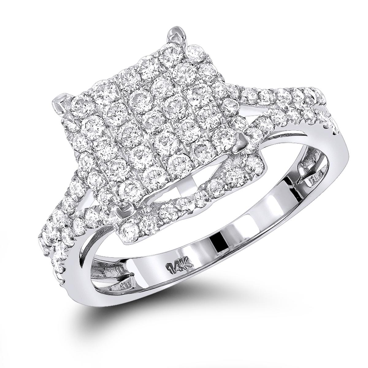 14K Pave Diamond Engagement Ring 1.25ct