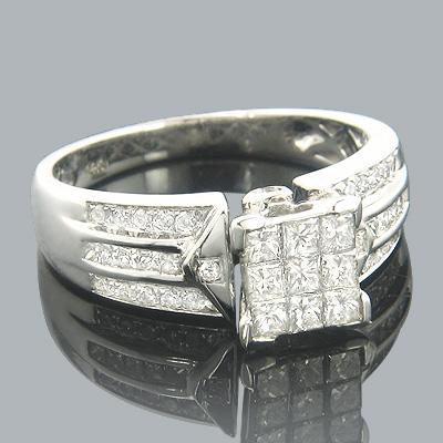 14K Round Princess Cut Diamond Engagement Ring 1.10ct