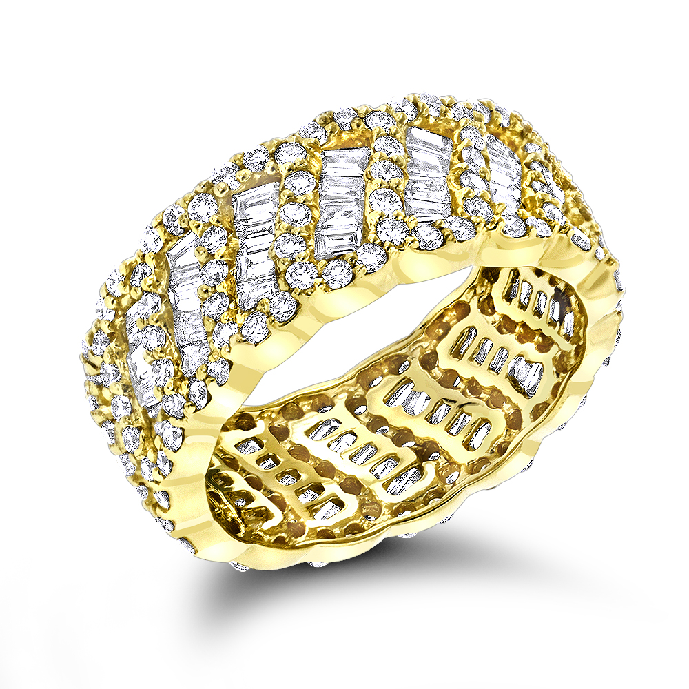 18K Gold Designer Diamond Eternity Band 2.5ct