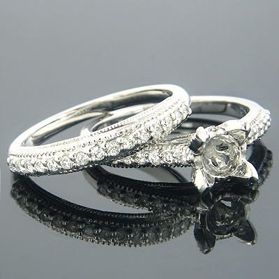 18K Gold Diamond Bridal Ring Sets Collection Item .58ct