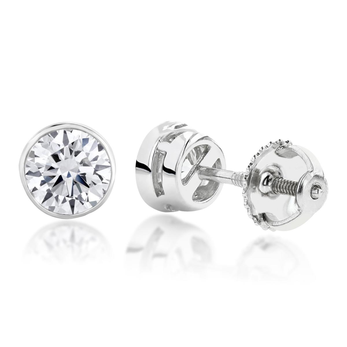 18K Gold Solitaire Round Diamond Bezel Stud Earrings 0.25ct